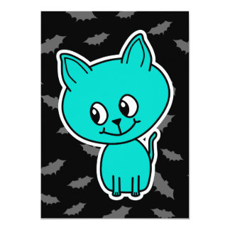 Cute Teal Cat with Bats. Invite
