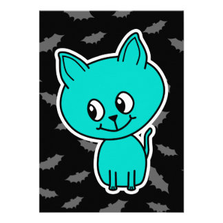 Cute Teal Cat with Bats Invite
