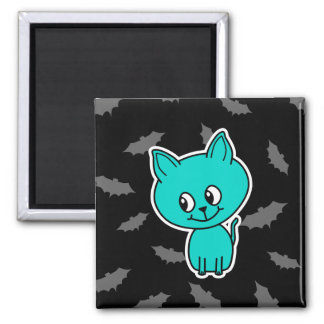 Cute Teal Cat with Bats. Magnet