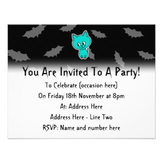 Cute Teal Cat with Bats Personalized Announcements