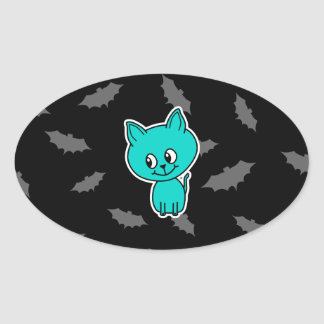 Cute Teal Cat with Bats. Stickers