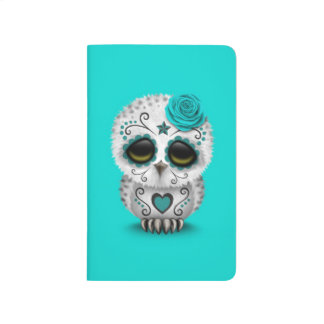 Cute Teal Day of the Dead Sugar Skull Owl Blue Journal