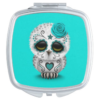 Cute Teal Day of the Dead Sugar Skull Owl Blue Vanity Mirror