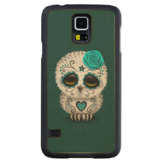 Cute Teal Day of the Dead Sugar Skull Owl Carved Maple Galaxy S5 Case