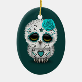 Cute Teal Day of the Dead Sugar Skull Owl Christmas Ornament