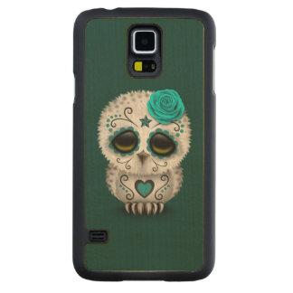 Cute Teal Day of the Dead Sugar Skull Owl Maple Galaxy S5 Slim Case