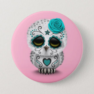 Cute Teal Day of the Dead Sugar Skull Owl Pink 7.5 Cm Round Badge