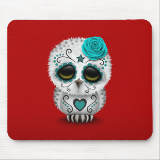 Cute Teal Day of the Dead Sugar Skull Owl Red Mousepads