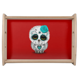 Cute Teal Day of the Dead Sugar Skull Owl Red Serving Tray