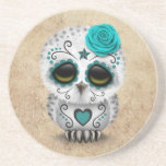 Cute Teal Day of the Dead Sugar Skull Owl Rough Drink Coaster