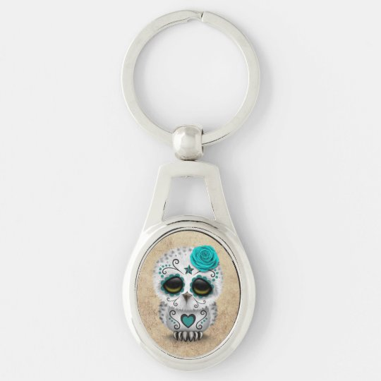 Cute Teal Day of the Dead Sugar Skull