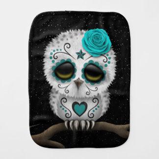 Cute Teal Day of the Dead Sugar Skull Owl Stars Burp Cloths