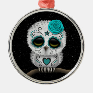 Cute Teal Day of the Dead Sugar Skull Owl Stars Christmas Ornament