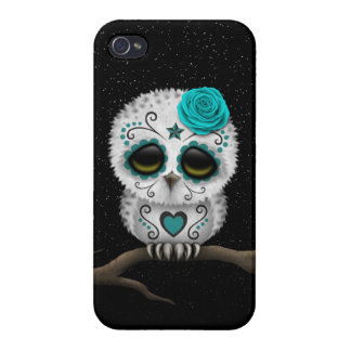 Cute Teal Day of the Dead Sugar Skull Owl Stars iPhone 4 Cases