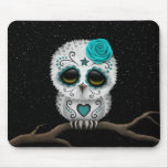Cute Teal Day of the Dead Sugar Skull Owl Stars Mousepad