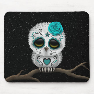 Cute Teal Day of the Dead Sugar Skull Owl Stars Mousepad