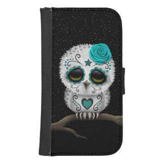 Cute Teal Day of the Dead Sugar Skull Owl Stars Samsung S4 Wallet Case
