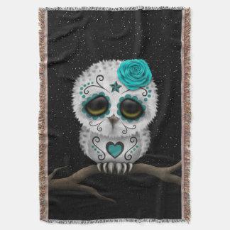 Cute Teal Day of the Dead Sugar Skull Owl Stars Throw Blanket