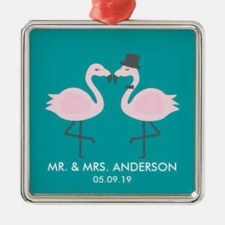 Cute Teal Flamingo Couple Customized Ornament