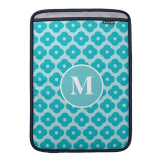 Cute Teal Floral Pattern Monogram Sleeves For MacBook Air