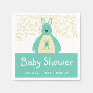 Cute Teal Kangaroo Baby Shower Napkin Disposable Serviettes
