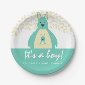 Cute Teal Kangaroo It's a Boy Baby Shower Party Paper Plate