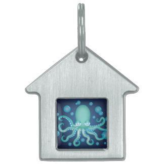 Cute Teal Octopus Pet Tag