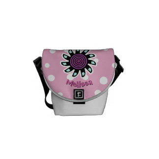 Cute Teal Purple Flower Custom Background Color S Courier Bag