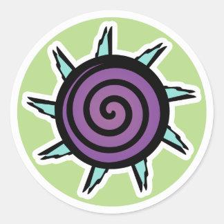 Cute Teal Purple Flower Classic Round Sticker