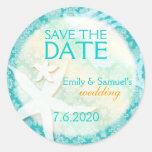Cute Teal Starfish Beach Wedding Save the Date