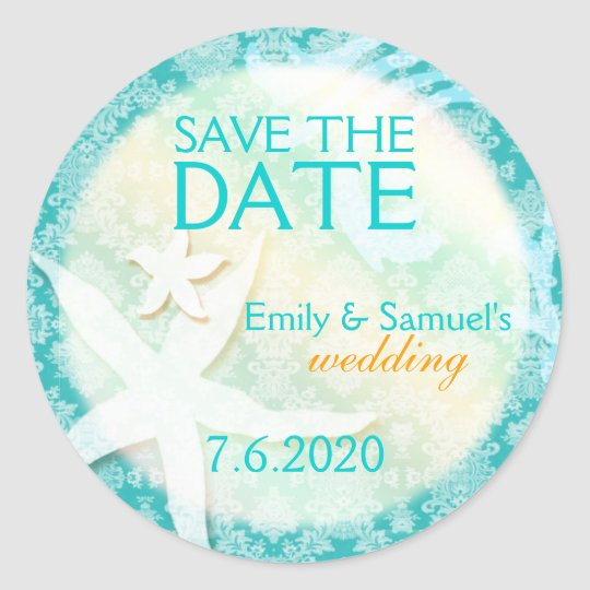 Cute Teal Starfish Beach Wedding Save the Date