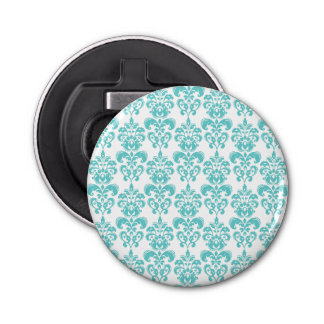 Cute Teal White Vintage Damask Pattern 2 Bottle Opener