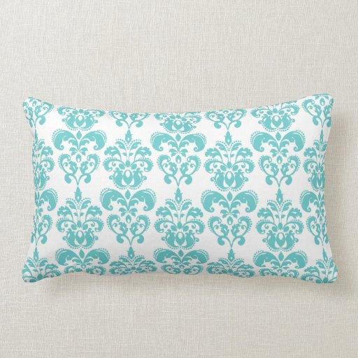 Cute Teal White Vintage Damask Pattern 2 Throw Pillows