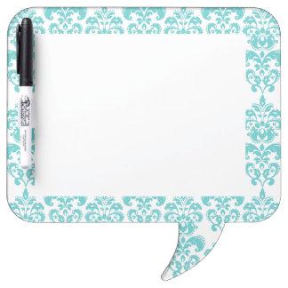 Cute Teal White Vintage Damask Pattern 2 Dry Erase Board