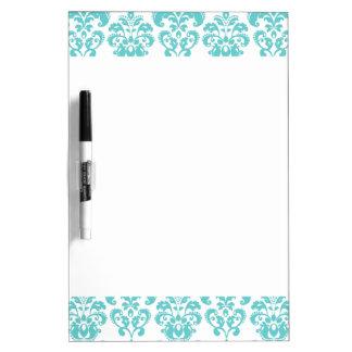 Cute Teal White Vintage Damask Pattern 2 Dry Erase White Board