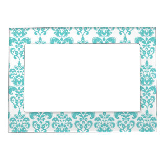 Cute Teal White Vintage Damask Pattern 2 Magnetic Photo Frame