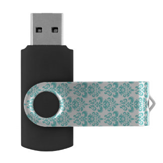 Cute Teal White Vintage Damask Pattern 2 USB Flash Drive