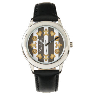 Cute Team Cookie Cartoon Stripes Personalized Name Watch