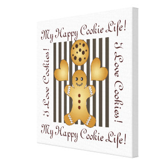 Cute Team Cookie Stripes Personalized Kids Room Canvas Print