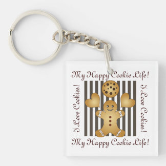 Cute Team Cookie Stripes Personalized Kids Single-Sided Square Acrylic Key Ring