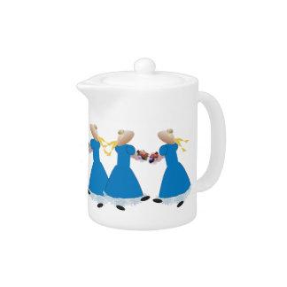 Cute Teapot with Dancing Girls