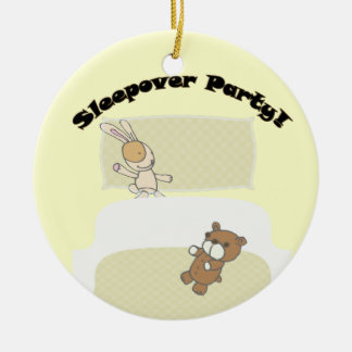 Cute Teddies Sleepover Party! Round Ceramic Decoration
