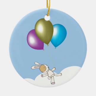 Cute Teddy and Balloons Art Christmas Ornament