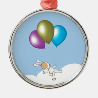 Cute Teddy and Balloons Art Silver-Colored Round Decoration