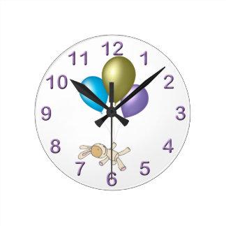 Cute Teddy and Balloons Cartoon Art Round Clock