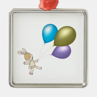Cute Teddy and Balloons Cartoon Art Silver-Colored Square Decoration