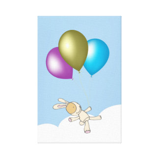 Cute Teddy and Balloons Kids Art Canvas Stretched Canvas Prints