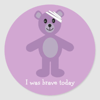Cute Teddy & Bandage I Was Brave Lilac Stickers