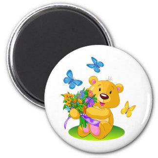 Cute teddy bear 6 cm round magnet
