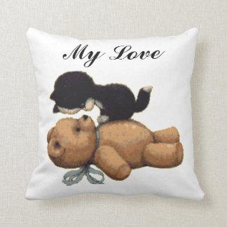 Cute Teddy Bear And Black Cat - My Love Cushion